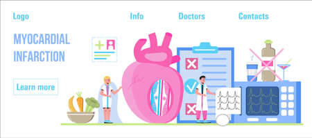 Myocardial infarction concept vector for medical website, header, blog. Heart attack, cardiac infarction with tiny doctors, cardiogram, artery, heart, diet plan in the post-infarction period.
