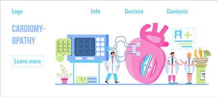 Cardiomyopathy concept vector for medical website, header, blog. Heart attack, cardiac infarction with tiny doctors, cardiogram, artery, heart are shown.