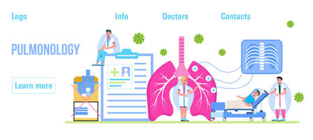 Pulmonologist, phthisiologist concept vector for the landing page, header. Scene of pulmonary fibrosis, tuberculosis, pneumonia, lung diagnosis x-ray machine, tiny doctors scan lungs.
