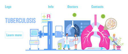 Pulmonologist, phthisiologist concept vector for the landing page, header. Scene of pulmonary fibrosis, tuberculosis, pneumonia, lung diagnosis x-ray machine, tiny doctors scan lungs. Ilustración de vector