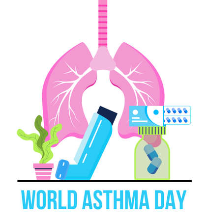 World asthma day concept vector. Inhaler, nebulizer are shown. Metaphor of tuberculosis, pneumonia, lung diagnosis x-ray machine. Bronchitis illustration for medical website, blog, header.