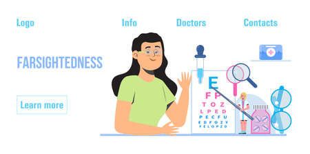 Conjunctivitis concept vector.Eye doctor concept for health care banner. Glaucoma treatment concept vector. Medical ophthalmologist eyesight check up with tiny people. Myopia, farsightedness are shown