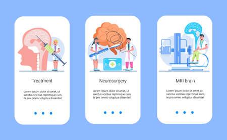 Neurology healthcare, MRI vector concept vector app templates set. Anatomical knowledge science of brain and senses diseases. Encephalogram, EKG concept vector. Neurologist treat brain.