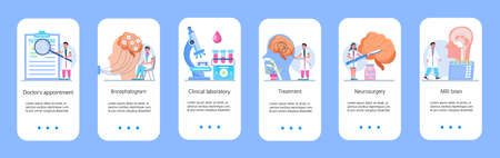 Neurology healthcare, MRI vector concept vector app templates set. Anatomical knowledge science of brain and senses diseases. Encephalogram, EKG concept vector. Neurologist treat brain.