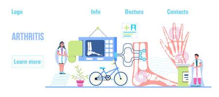 Rheumatoid arthritis. Tiny doctors treat rheumatism, osteoarthritis, make ultrasound, x ray. World arthritis day in October. Flat concept vector for landing page, banner, app.