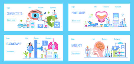 Pulmonologist, phthisiologist concept vector for the landing page, blog. Treatment of the prostate in the clinic, surgically. Medical ophthalmologist eyesight check up. Conjunctivitis concept.