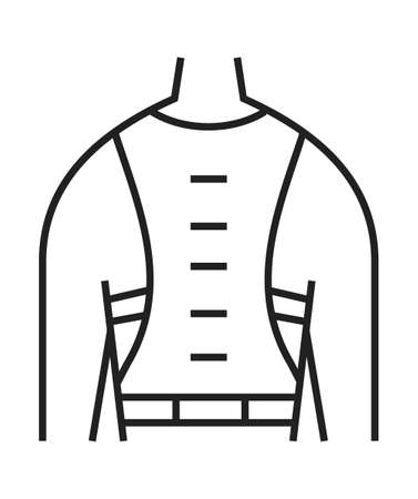 Back brace icon. Orthopedic rehabilitation icon vector. Physical therapy line. Scoliosis symbol for web design, app. Arthritis, osteoporosis