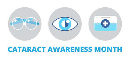Cataract awareness month is celebrated in June. Glaucoma disease and nephropathy problems. Ophthalmologist, oculist concept illustration. Eyesight check up with tiny people character for apps, web. Vector Illustration