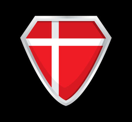 Denmark flag vector. The sign of the Danish state. A shield with a red cloth and a white cross Ilustração Vetorial