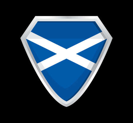 Scotland flag vector. The sign of the Scottish state. A shield with a blue cloth and a white flag Vektoros illusztráció