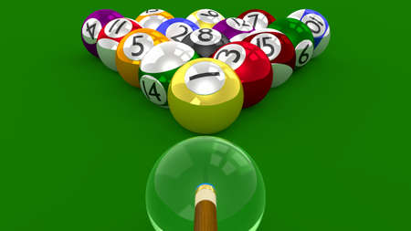 endpoint: A 8 Ball Pool  3D Game - All Balls Randomly Racked Ready for Break Shot