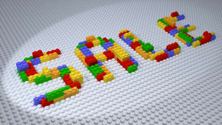 plastic bricks: A SALE Constructed from Colorful Plastic Bricks on White Background