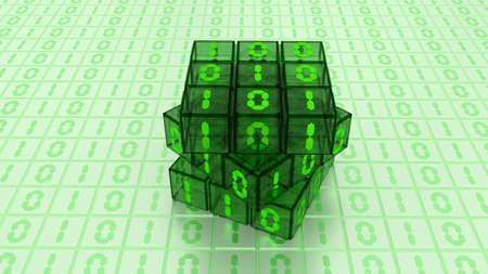 A Digital Binary Magic Cube Box in Green Glass Light Background photo