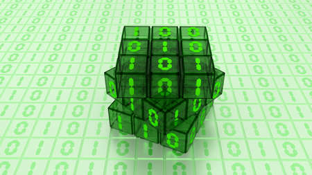 programing: A Digital Binary Magic Cube Box in Green Glass Light Background Stock Photo