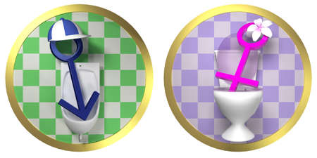 privy: Restroom - Toilet Male and Female Signs on Tiled Wall Stock Photo
