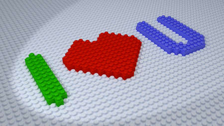 Lego - I Love You Bricks Composed on White Floor