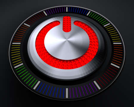 warning indicator: STOP Button with Glowing Red Lights on Dark Console Stock Photo