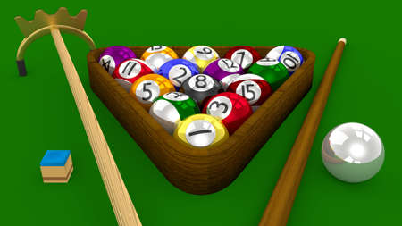8 Ball Pool 3D Game - All Balls Racked with Accessories on Green Table photo