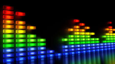 aural: Music Sound Levels with Multi-Colours Block in Array Like Wall Stock Photo