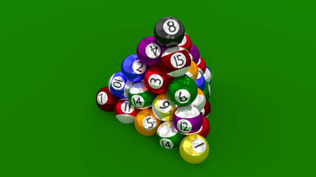 highest: Eight Ball Pool Highest Score Constructed as Pyramid Stock Photo