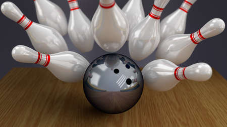 anaerobic: Bowling Ball and Pins on Moment of Strike Impact
