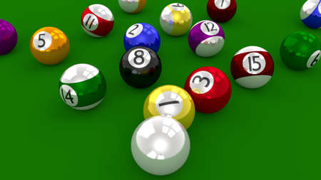 Eight Ball Pool Game - Balls Scattered After Break Shot photo