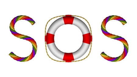 morse code: SOS Morse Code Sign for Seeking Rescue or Help Stock Photo