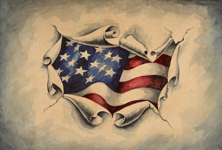 View of the American flag through the big breakthrough in the paper. Watercolor illustration. Stock Photo