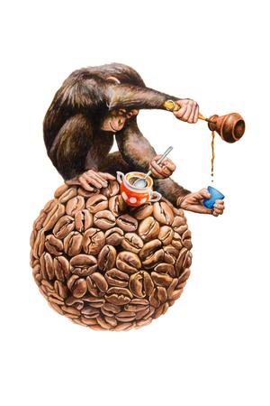 Chimpanzee pours coffee. Watercolor illustration. Фото со стока