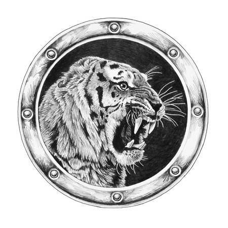 Tiger in round frame isolated on white background Фото со стока