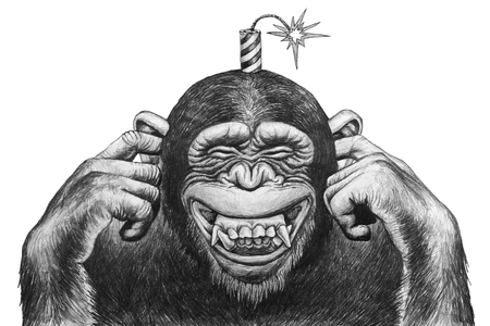 expects: Chimpanzee fingers covering her ears and expects cotton firecrackers. Pencil drawing illustration.