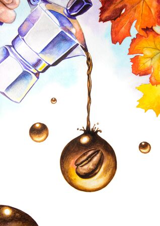 Coffee maker. Watercolor illustration