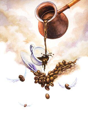 creative: Coffee creative. Watercolor illustration