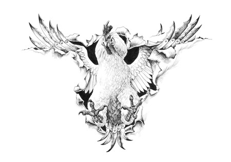Cock Fight breaks through the metal. Pencil illustration.