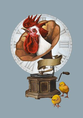 sound box: Rooster and gramophone.  Isolated on background.