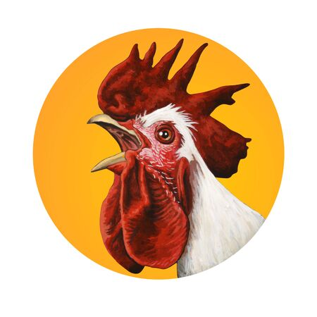 Handcrafted rooster portrait. Acrylic and watercolor illustration. Фото со стока
