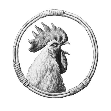 Rooster in a round wicker frame. Pencil illustration. Фото со стока