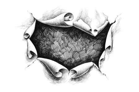 Breakthrough paper hole in the rough. Pencil drawing illustration.