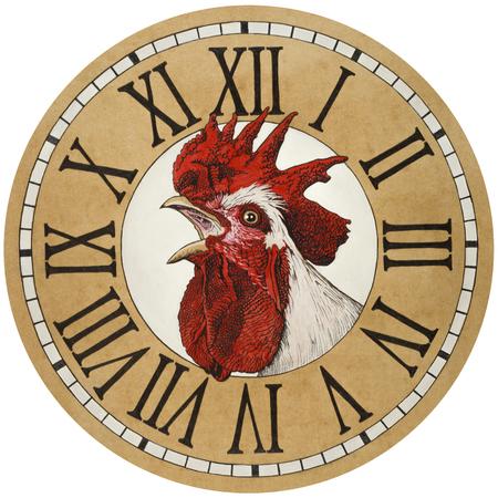 numeros romanos: Gallo en la esfera del reloj. Pintura acrílica, dibujo a lápiz sobre papel de color.