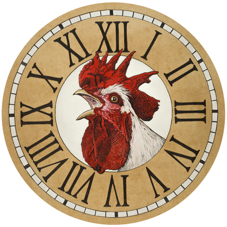 Rooster in the watch dial. Acrylic paint, pencil drawing on colored paper.