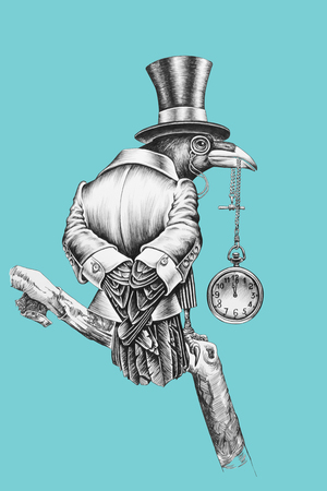 정장과 모자 실린더를 입은 Raven 관리. 연필 그림입니다.