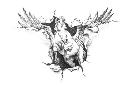 metal drawing: Pegasus ripped metal. Pencil drawing illustration. Stock Photo