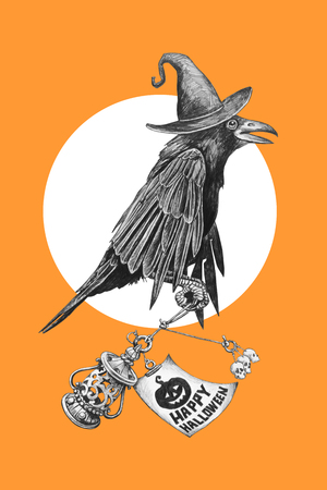 Black crow in a witches hat on Halloween night. Pencil drawing illustration. Фото со стока - 65786452
