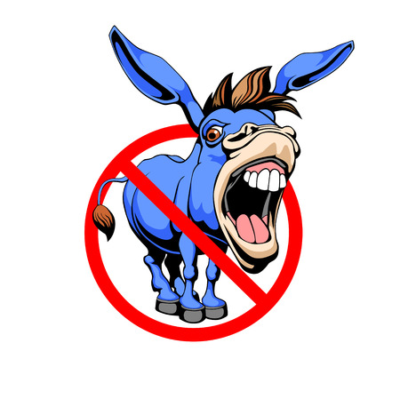 Stop donkey. Red prohibition sign.