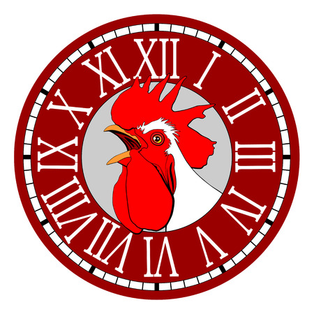 Rooster in the watch dial. Иллюстрация