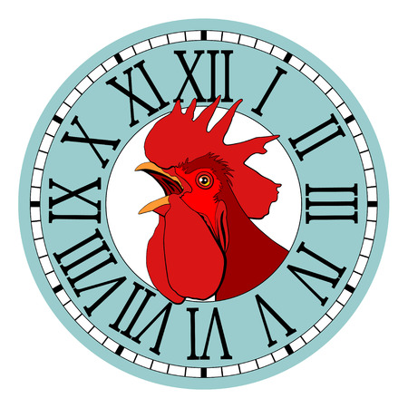 Red rooster, symbol of 2017 in the watch dial. Фото со стока - 68975464