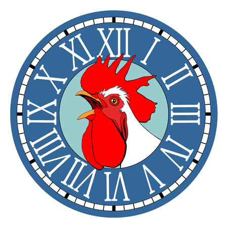 Rooster in the watch dial. Illustration