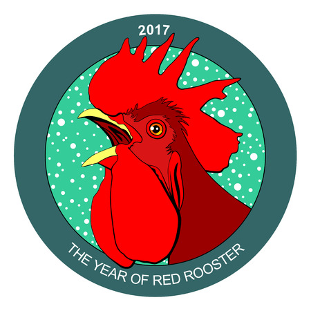 Red rooster, symbol of 2017 on the Chinese calendar. Фото со стока - 69092173