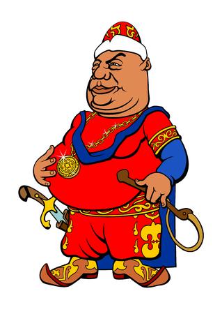 Cartoon Central Asian Sultan. Vector illustration Фото со стока - 69350318