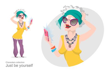 ricreazione: Vecchia donna in abiti eleganti luminose rende selfie. pensionato moderna. I dispositivi mobili e gadget. Espressione di se. stile cartone animato.
